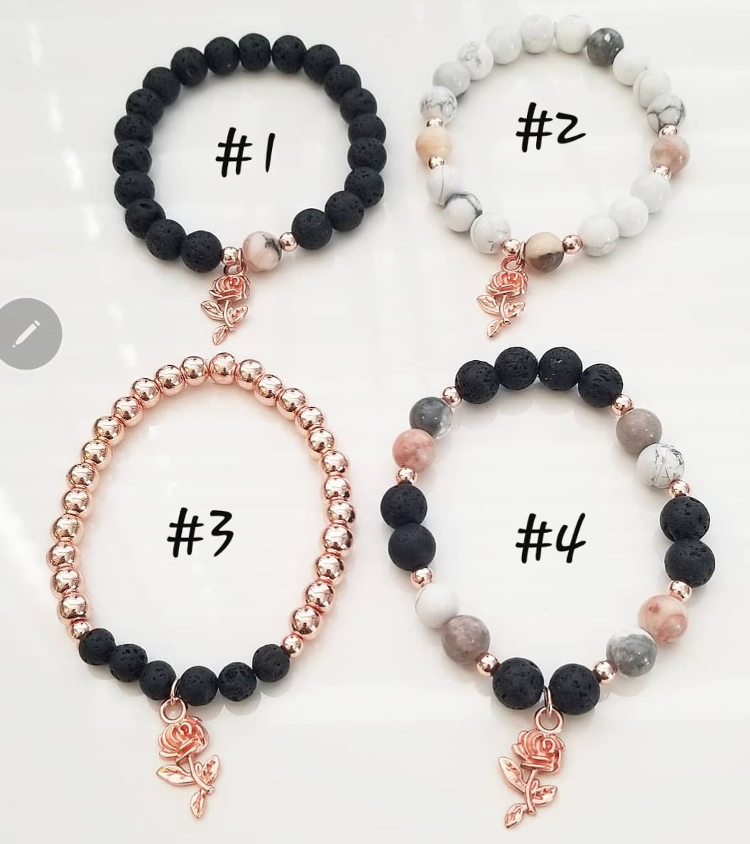 GH Signature Bracelet w/ small rose charm
