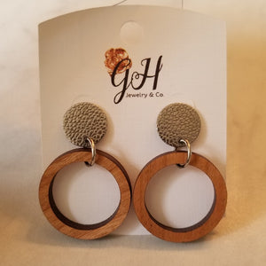 Wood Hoop Earrings w/studs