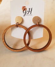 Load image into Gallery viewer, Wood Hoop Earrings w/studs