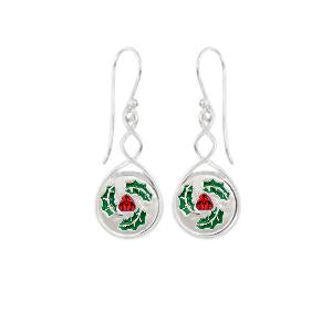 Twist Earrings KE005 with Deck The Halls Jewel Pops