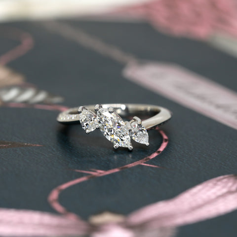 Double Pear Marquise Diamond Bridal Ring Bena Jewelry