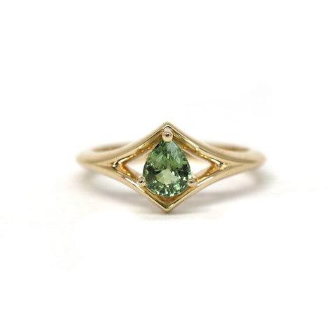 Yellow Gold Ring Pear Shape Green Sapphire Montreal Made Fine Jewelry Bena Jewelry Color Gemstone Jewelry Designer Montreal