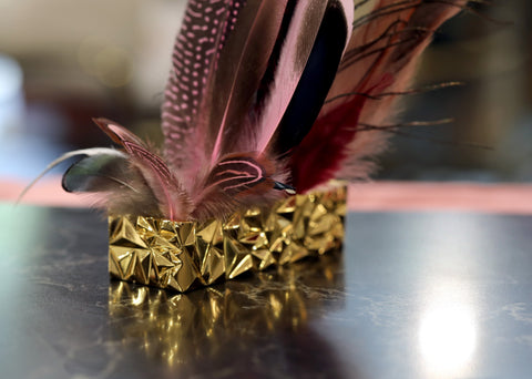 Bronze Box Yellow Gold Plated Fine Metal Art Montreal Jewelry Designer & Feather Made By Bena Jewelry Designer Montreal