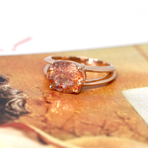 Cocktail Ring Rose Gold Sunstone Edgy Bena Jewlery Montreal Made Custom Color Gemstone Bold Ring