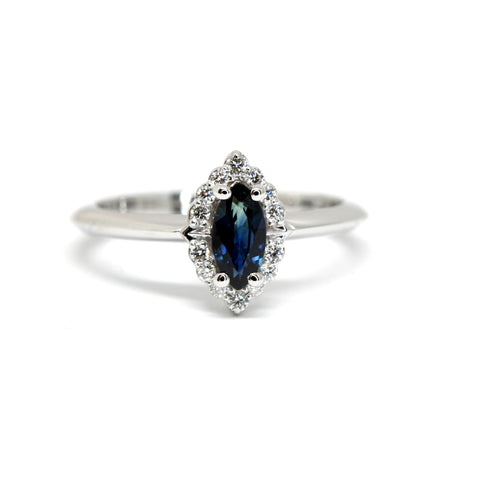 Marquise Sapphire & Diamond Gold Ring Benaderette Fine Jewelry