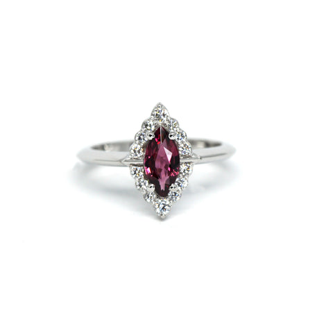 Marquise Garnet & Diamond Gold Ring Benaderette Fine Jewelry