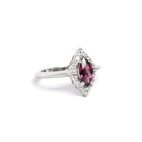 Marquise Garnet & Diamond Gold Ring Side View Benaderette Fine Jewelry