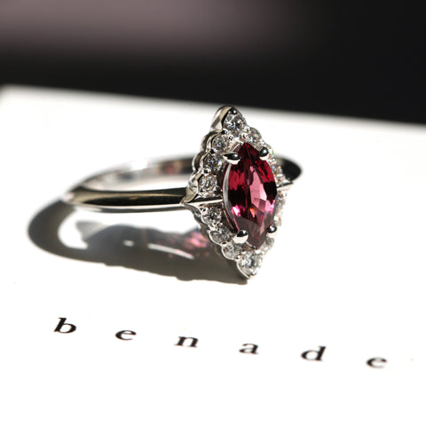 Marquise Garnet Diamond Ring Benaderette Fine Jewelry