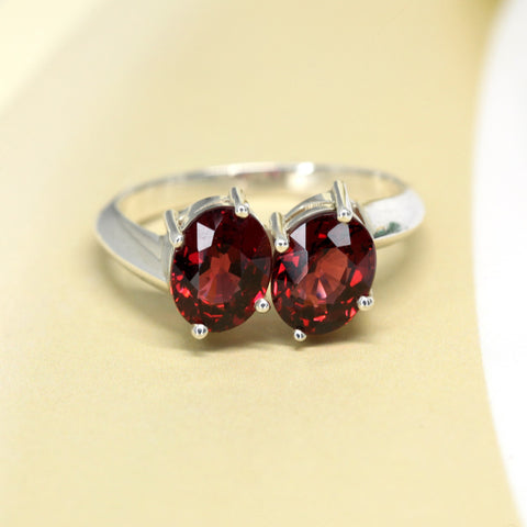 Toi et Moi Cocktail Ring Big Oval Red Gemstone Natural Gems Bena Jewelry Montreal Silver Ring Ruby Mardi Fashion Jewelry