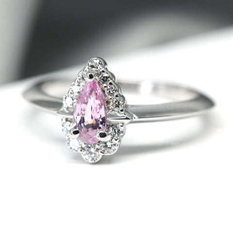 Pink Sapphire Gold and Diamond Bridal Ring