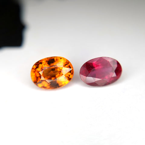 Oval Spessartite Garnet and Ruby Gemstone