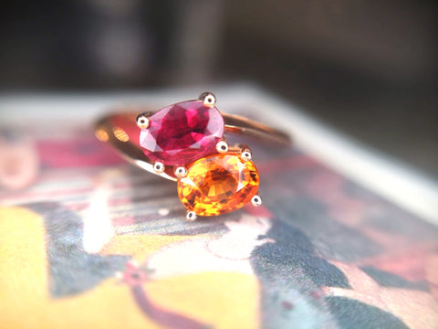 Toi & Moi Oval Ruby and Garnet Ring Bena Jewelry