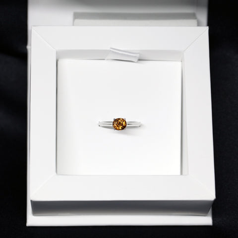 Natural Oval Zircon Gemstone White Gold Engagement Ring Warm Orange Natural Stone