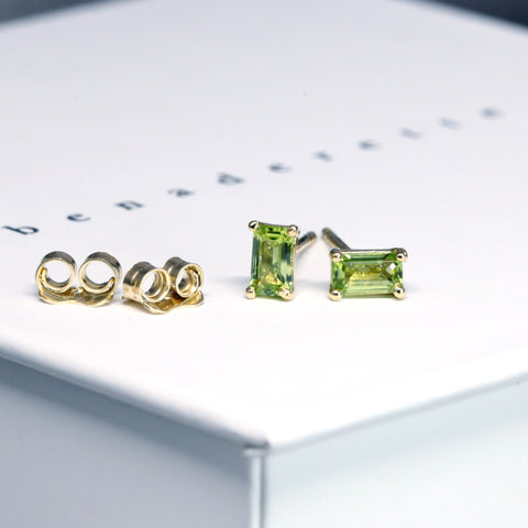 Peridot Gold Stud Earrings Benaderette Fine Jewelry