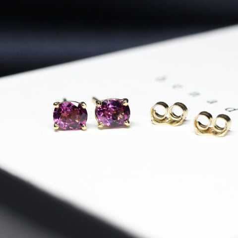 Rhodolite Garnet Stud Earrings Benaderette Fine Jewelry