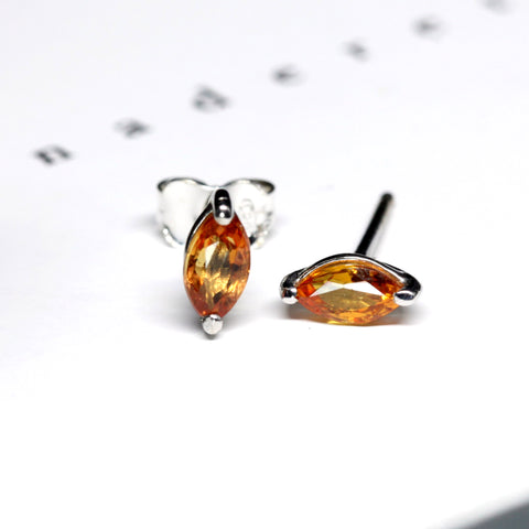 Orange Sapphire Stud Earrings Benaderette Fine Jewelry