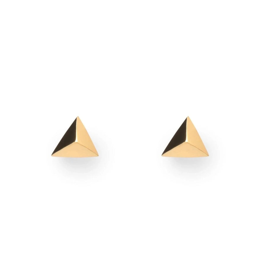 Front view of pair vermeil gold stud earrings on a white background bena jewelry montreal made in canada simple minimalist studs local designer little italy jeweler montreal fine jewelry
