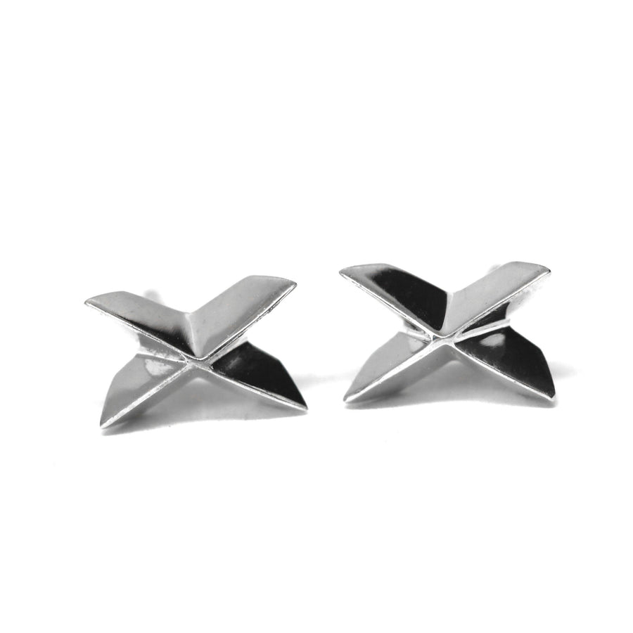 Silver Sharp Cross Earrings