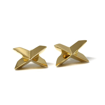 Cross earrings studs bena jewelry vermeil gold custom made fine jewelry yellow gold silver plated earrings boucles d'oreilles minimalist montreal made in canada