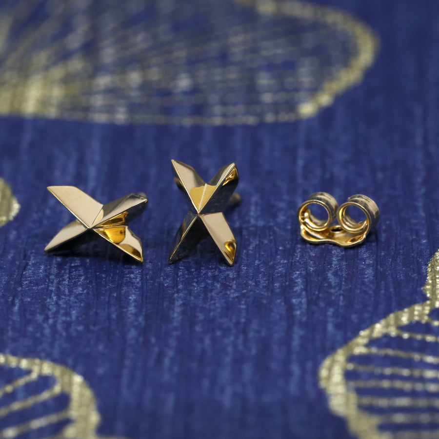Gold Vermeil Sharp Cross Earrings