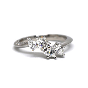 Marquise Diamond Double Pear Ring - 0.70 ct total