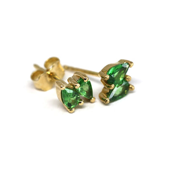 Second Edition Tsavorite Garnet Double Pear Yellow Gold Stud Earrings