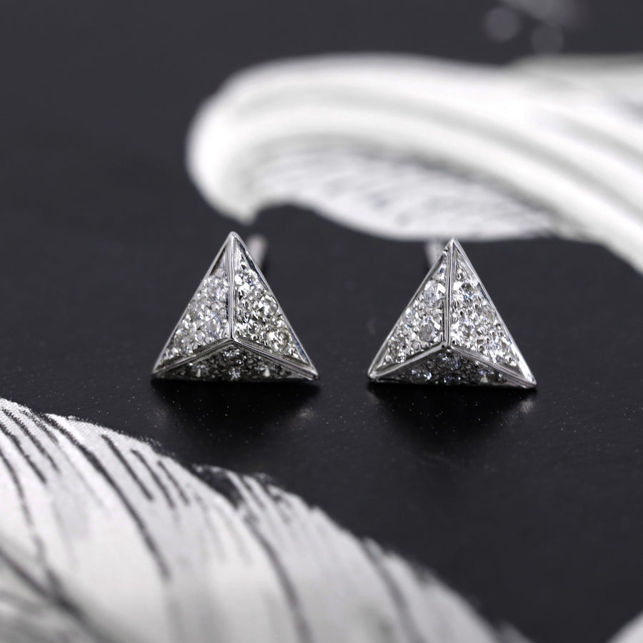 Front view of the pyramidal white gold and diamond stud earrings from Fancy Edgy Collection Bena Jewelry Designer Montreal Made in Canada