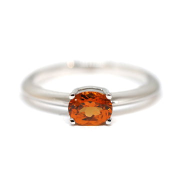 Spessartite Garnet Deep Orange Oval Stackable White Gold Ring