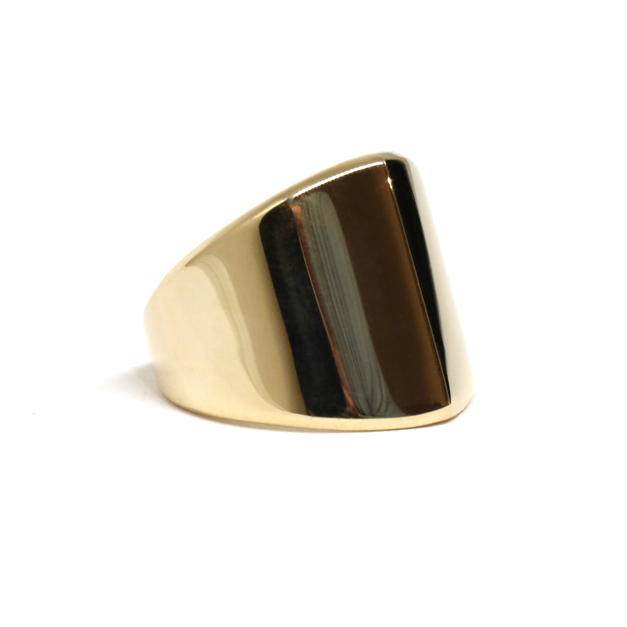 Edgy ring yellow gold bold designer jewels montreal handmade in canada fine jewelry simple shape edgy collection fine jewelry unisexe bold jewelry designer montreal made in canada