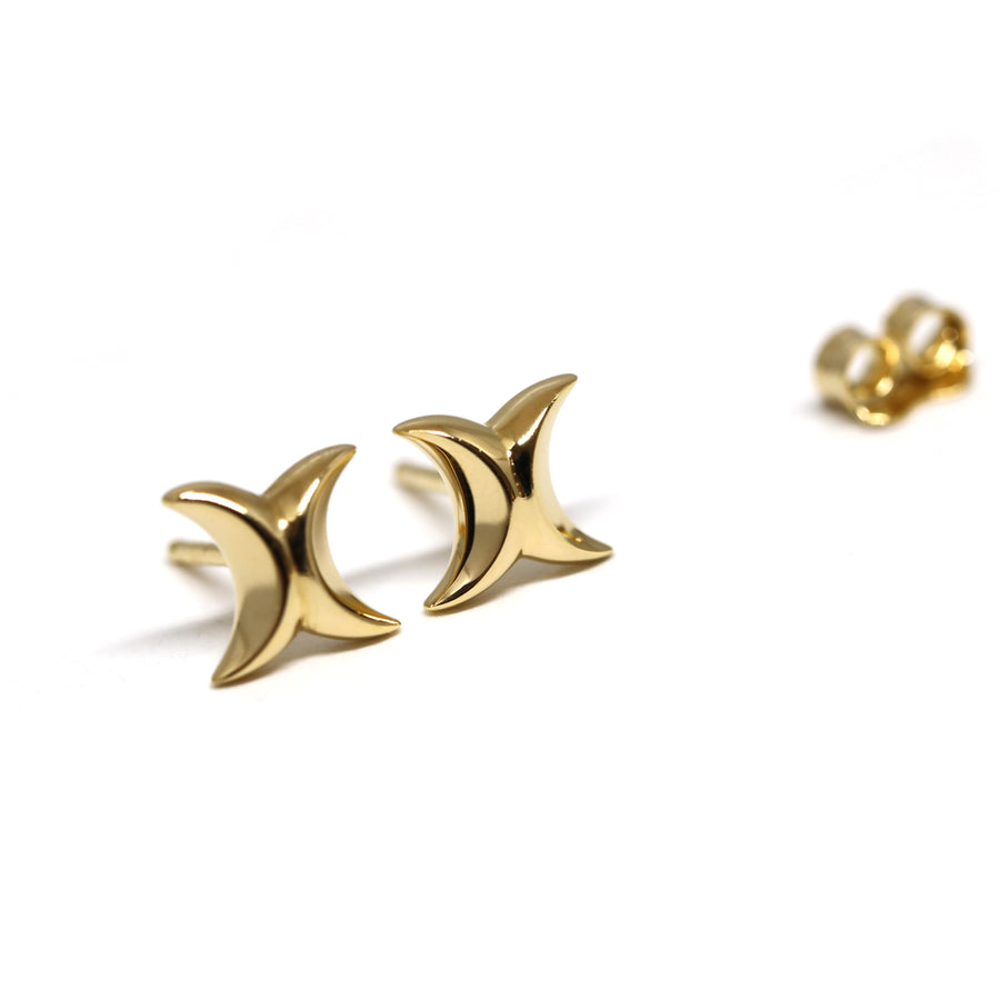 Gold Vermeil Double Quarter Moon Earrings