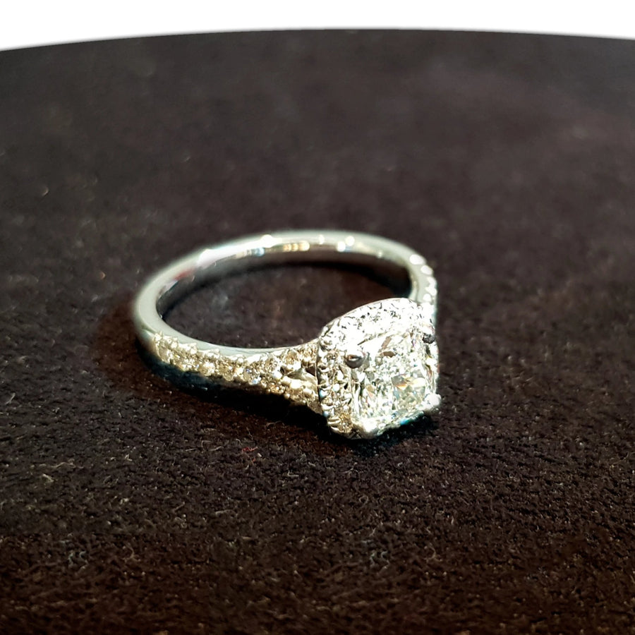 White Gold Cushion & Halo Diamond Ring