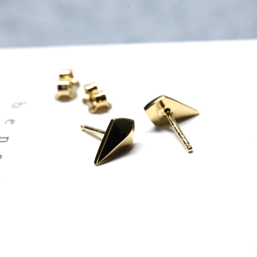 Gold Plated Mini Spade Earrings
