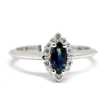 Marquise Sapphire Diamond Halo Gold Ring