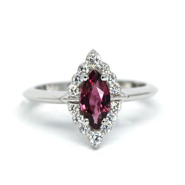 Marquise Rhodolite Garnet Diamond Halo Gold Ring