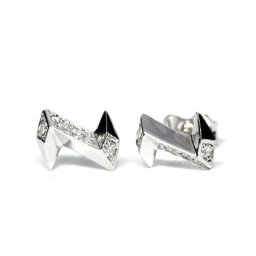 Electric shape stud earrings silver and diamond Edgy Collection Montreal