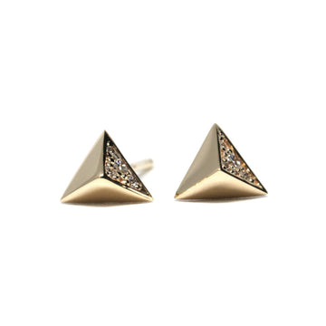 Yellow gold pyramidal stud earings Bena Jewelry from Fancy Edgy Collection Made in Montreal Canada