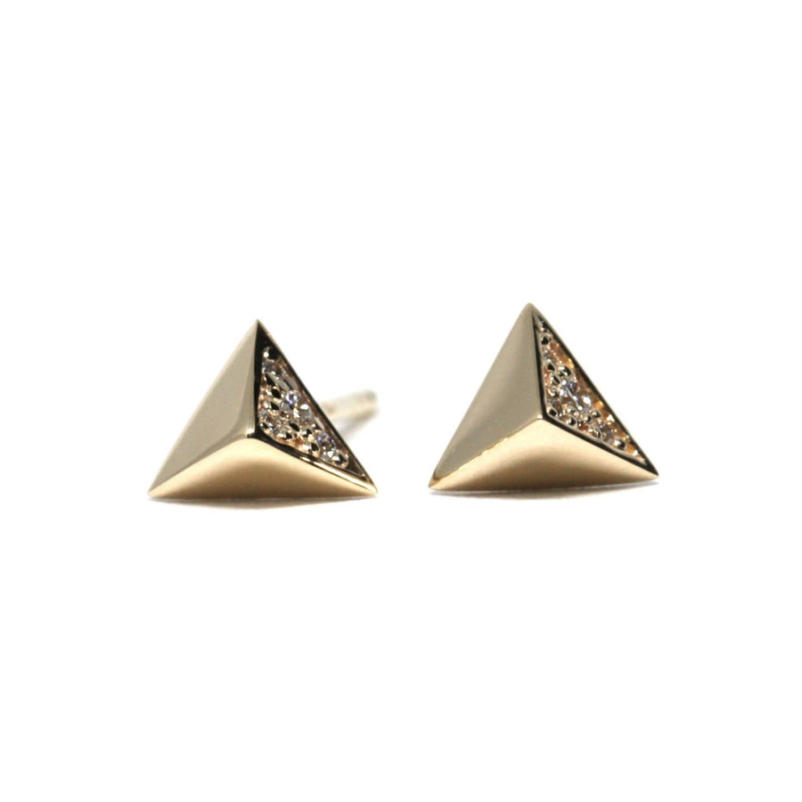 Diamond Pyramidal Yellow Gold Earrings - 0.05 ct