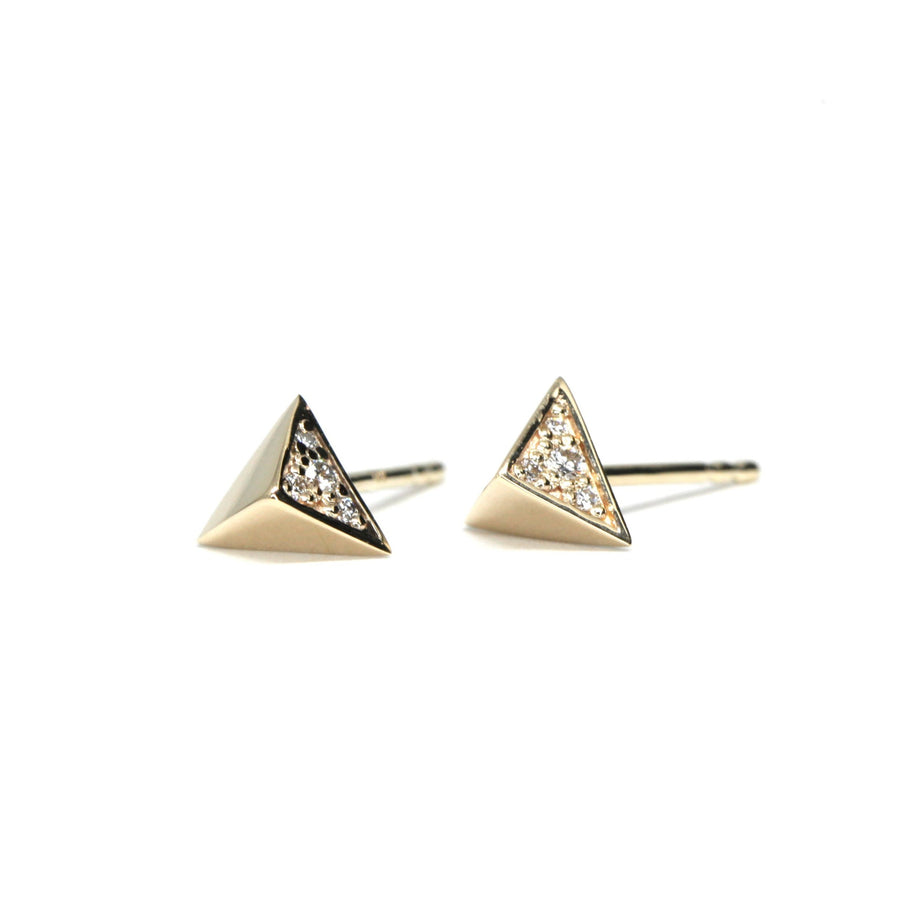 Small diamond yellow gold stud earrings Fancy Edgy Collection