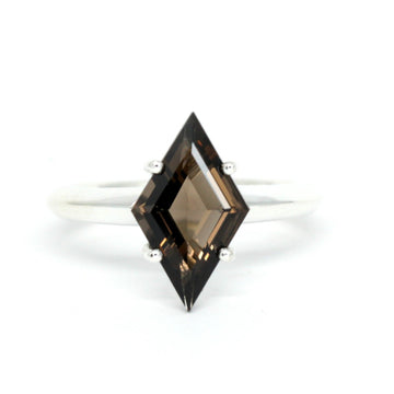Lozenge Smoky Quartz Silver Ring