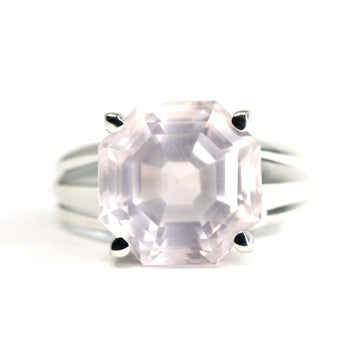 Huge Octagon Rose Quartz Silver Ring