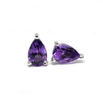 Purple Pinkish Very Small Pear Shape Amethyst Stud Earrings
