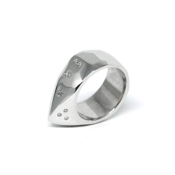 Cast Diamond Rough Faceted Ring - 0.15 ct