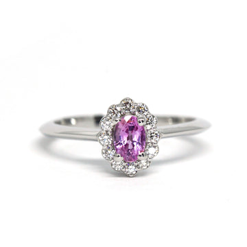 Oval Pink Sapphire Diamond Halo Gold Ring
