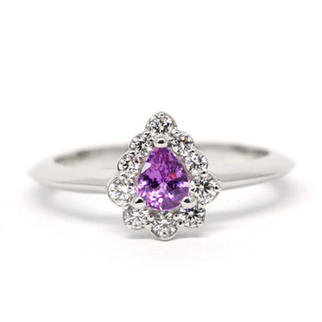 Pear Shape Intense Pinkish Purple Sapphire Diamond Halo Gold Ring
