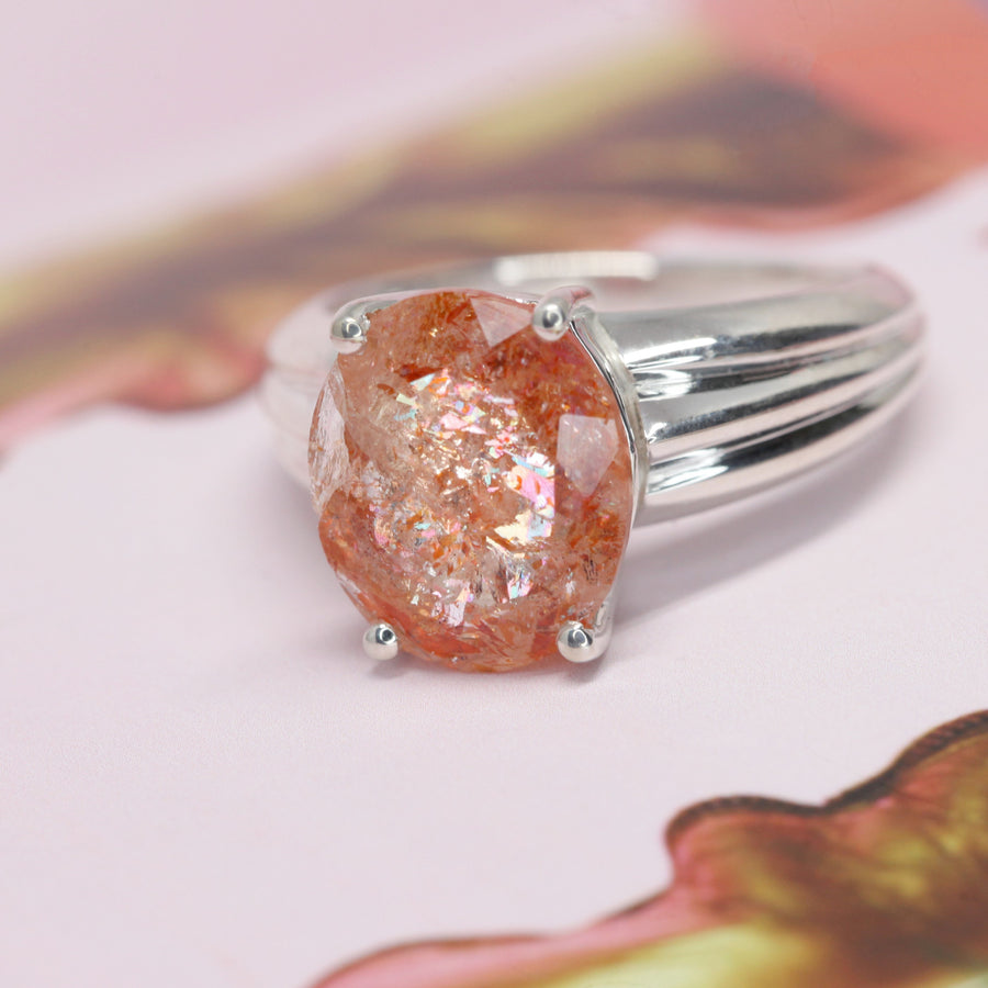 Large Sparkly Oval Sunstone Silver Ring