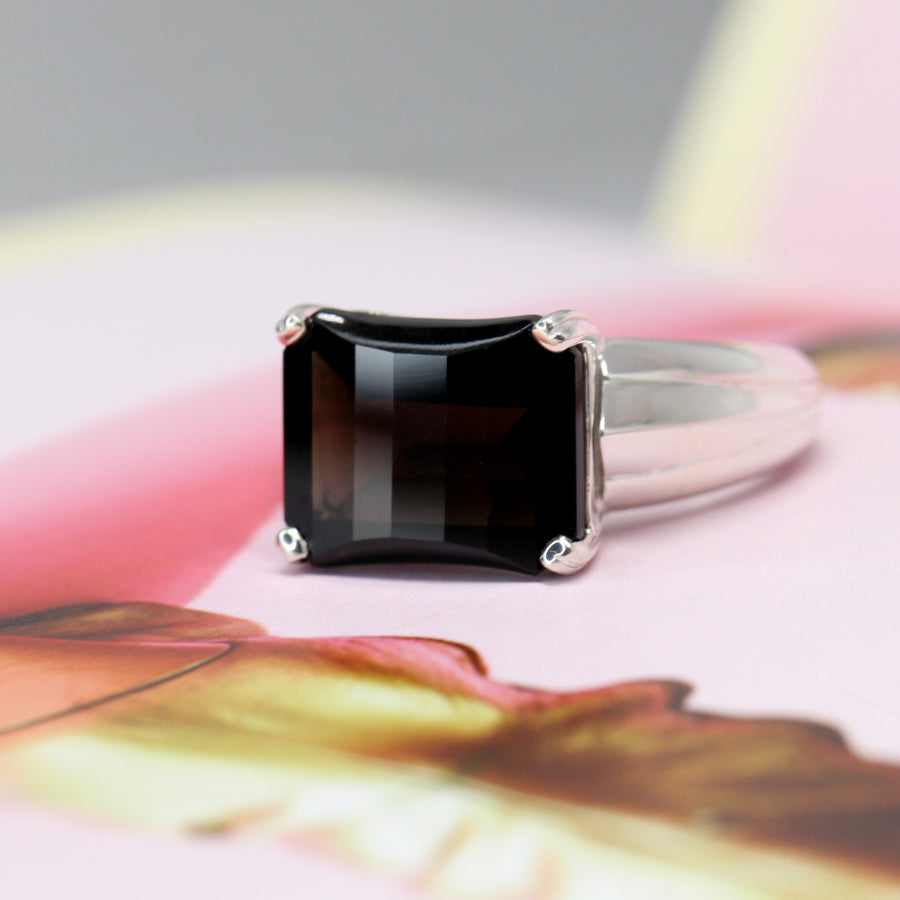 Rectangle Smoky Quartz Silver Ring