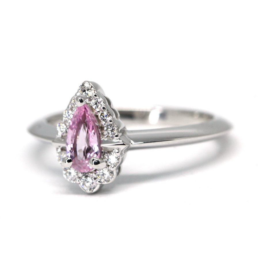 Pear Shape Light Royal Pink Sapphire Diamond Halo Gold Ring