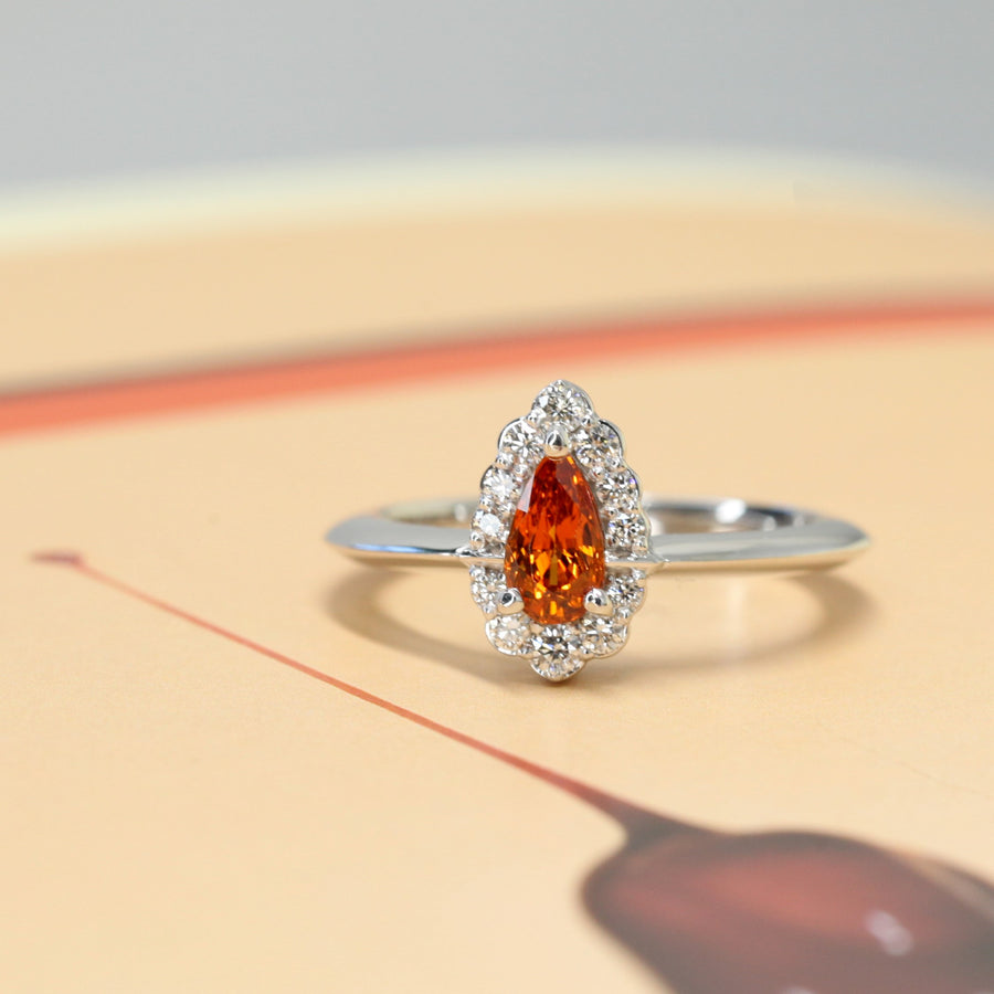 Pear Shape Deep Orange Spessartite Garnet Diamond Halo Gold Ring