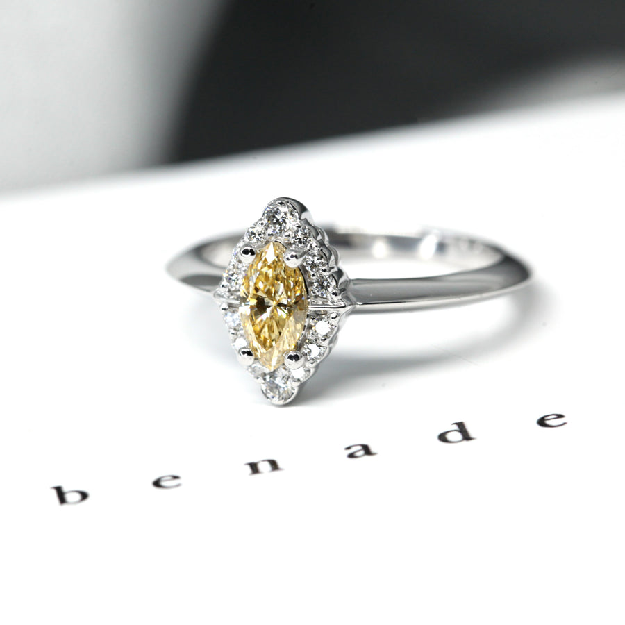 Marquise Shape Yellow Diamond Halo Gold Ring GIA Certified - 0.36 ct