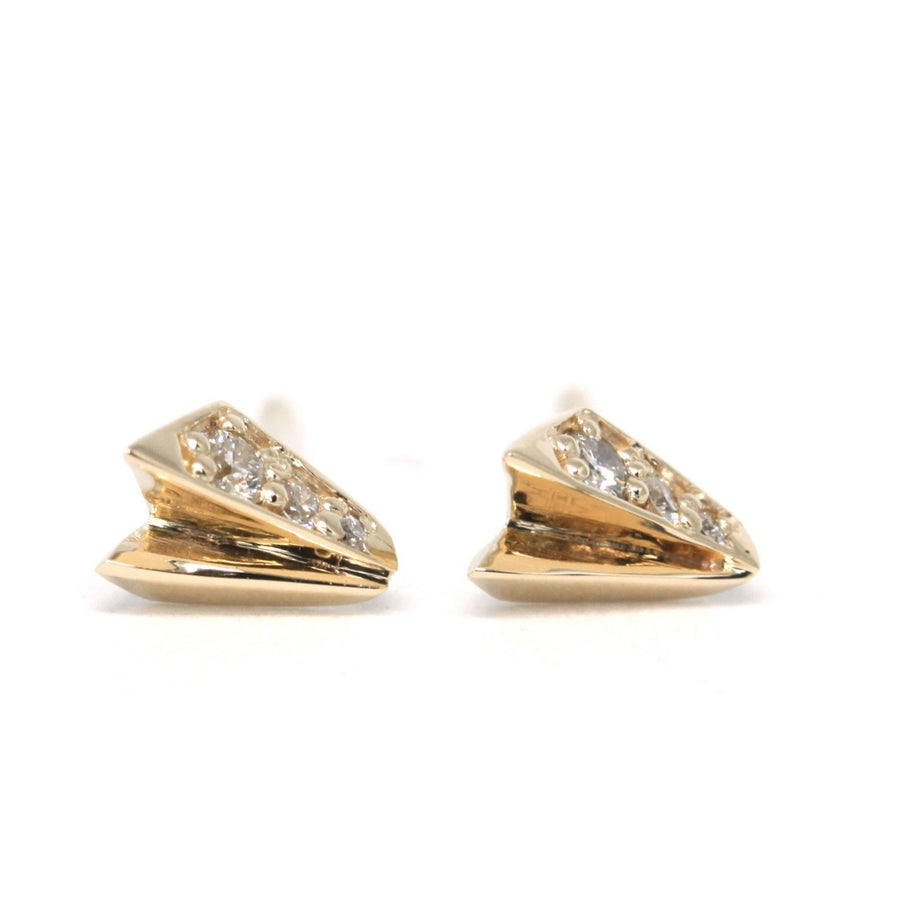 Yellow gold stud earrings with diamond Bena Jewelry fancy Edgy Collection Fine Jewelry Design Made in Montreal Canada